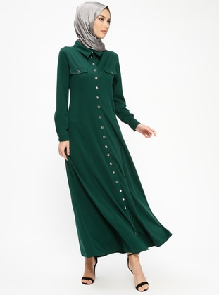 Green - Unlined - Point Collar - Abaya