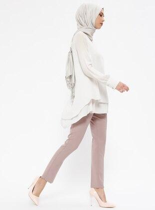 kuşak detaylı pantolon - açık gül kurusu - zinet