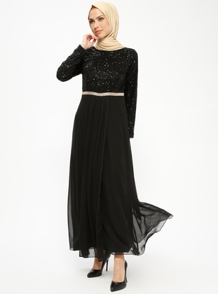 Black - Black - Black - Fully Lined - Crew neck - Muslim Evening Dress