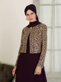 Purple - Purple - Unlined - Crew neck - Purple - Unlined - Crew neck - Muslim Evening Dress
