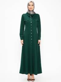 Green - Unlined - Point Collar - Abaya