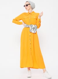 Orange - Point Collar - Unlined - Viscose - Dresses