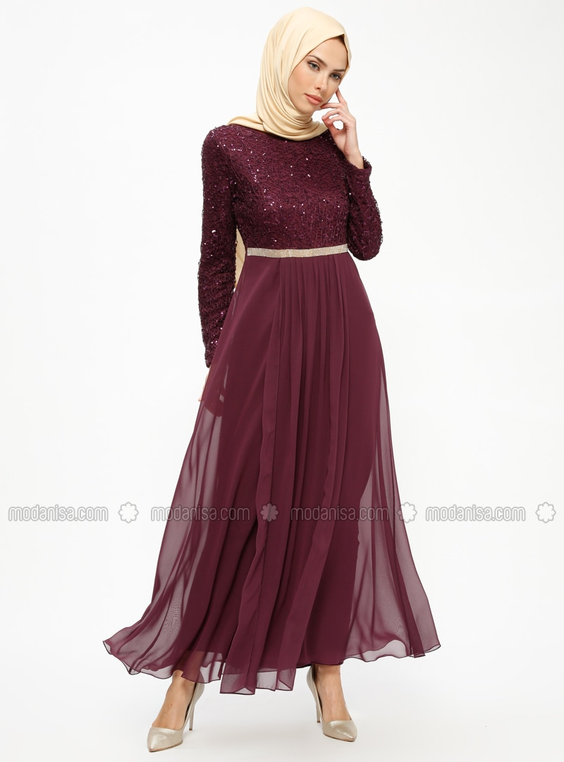 Plum - Plum - Fully Lined - Crew neck - Muslim Evening Dress