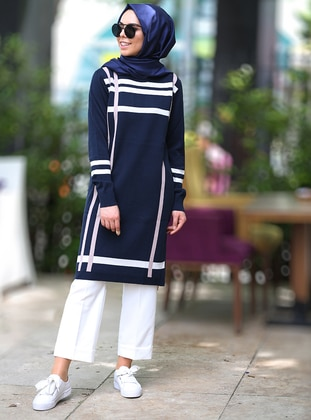 Navy Blue - Stripe - Tunic - İnşirah