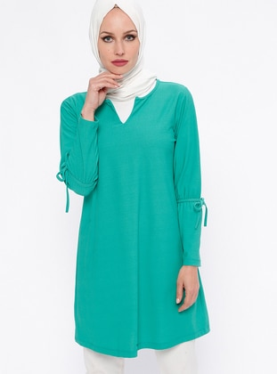 Green – V Neck Collar – Tunic – Rtw Trend