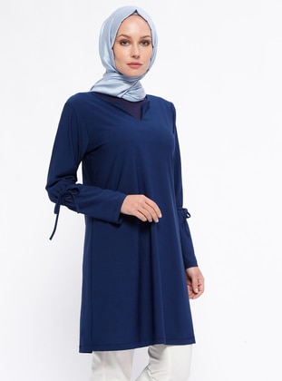 Blue – Indigo – V Neck Collar – Tunic – Rtw Trend