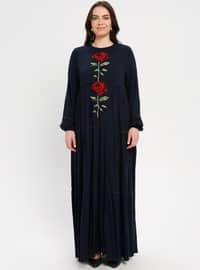 Navy Blue - Unlined - Crew neck - Plus Size Dress - BAGİZA