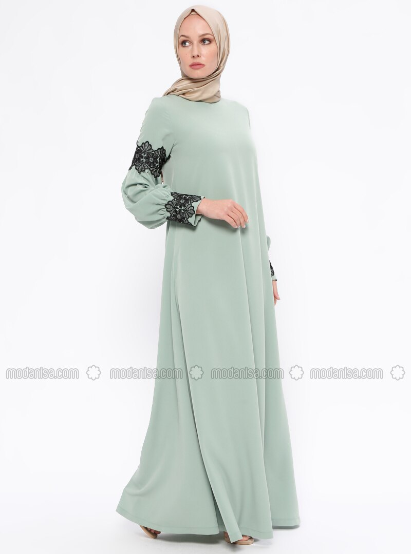 Green - Crew neck - Unlined - Dresses