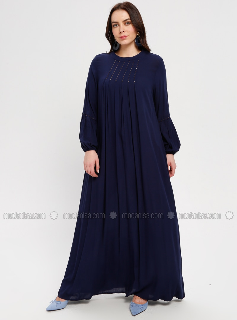 Navy Blue - Unlined - Crew neck - Plus Size Dress - BAGİZA