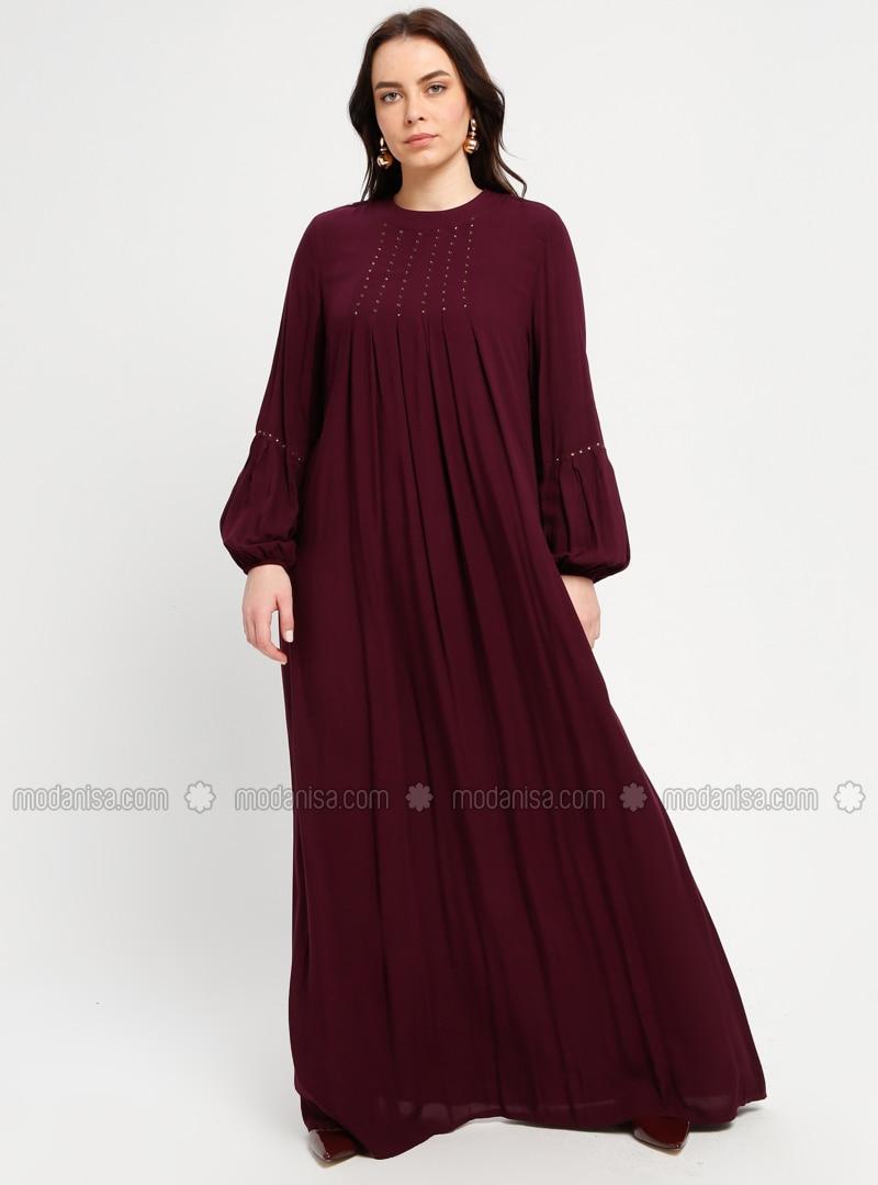 Plum - Unlined - Crew neck - Plus Size Dress - BAGİZA