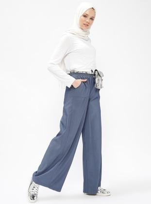 beli lastikli pantolon - indigo - veteks line