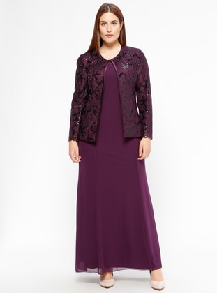 Purple - Plum - Crew neck - Fully Lined - Plus Size Evening Suit - Arıkan