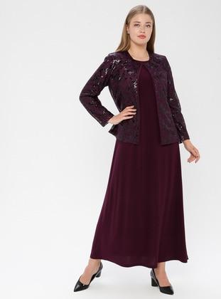 Purple - Plum - Crew neck - Fully Lined - Plus Size Evening Suit