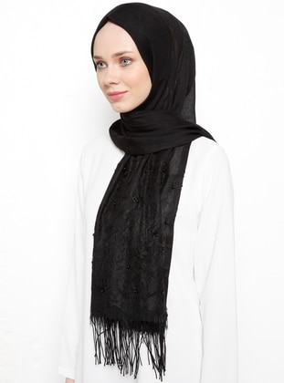 Black - Plain - Fringe - Viscose - Shawl