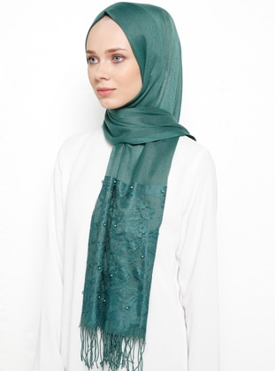 Green - Plain - Fringe - Viscose - Shawl