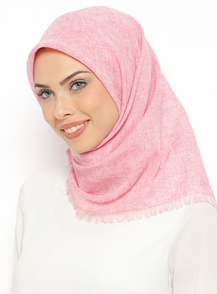Pink - Plain - Linen - Scarf