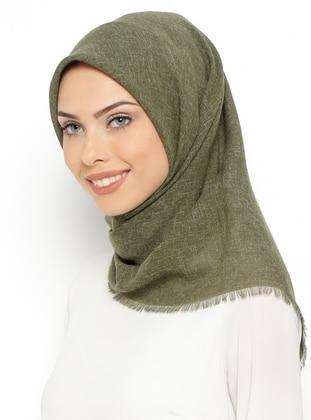 Green - Plain - Linen - Scarf