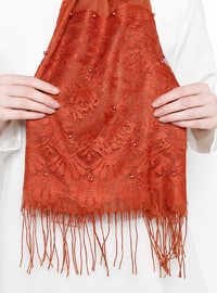 Orange - Plain - Fringe - Viscose - Shawl