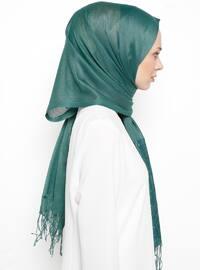 Green - Plain - Fringe - Viscose - Shawl