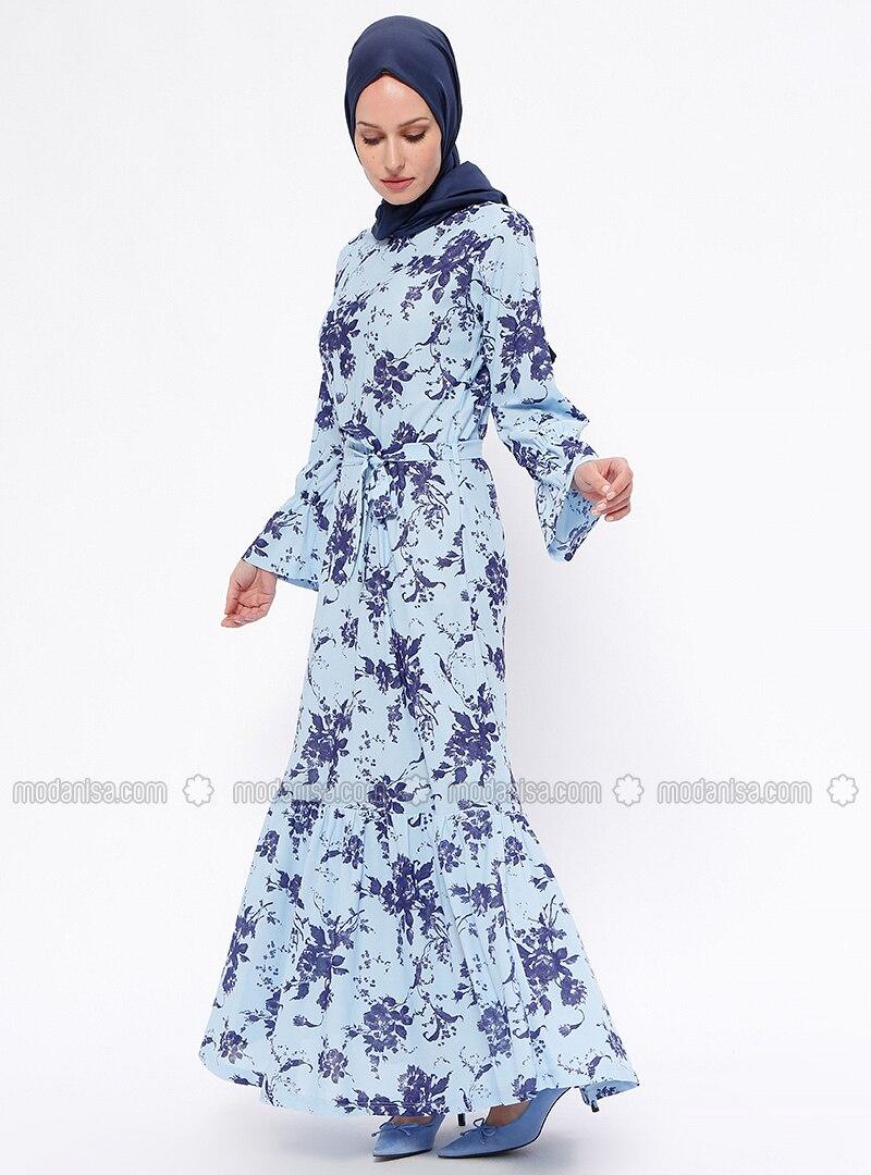6d9f2cf645 Blue - Navy Blue - Multi - Crew neck - Unlined - Dresses. Fotoğrafı  büyütmek için tıklayın