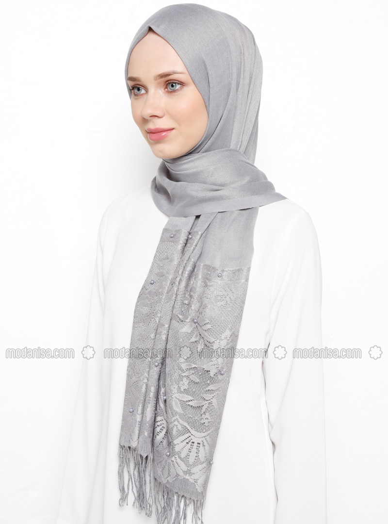 Gray - Plain - Fringe - Viscose - Shawl