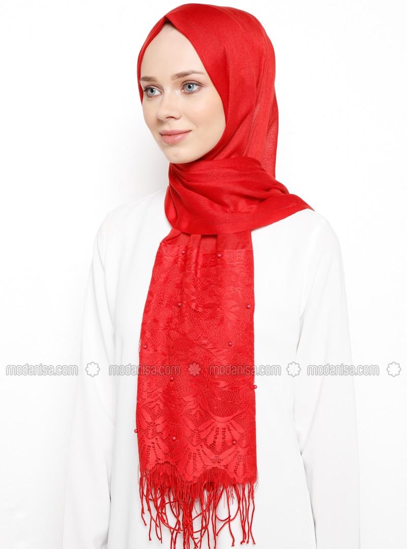 Red - Plain - Fringe - Viscose - Shawl
