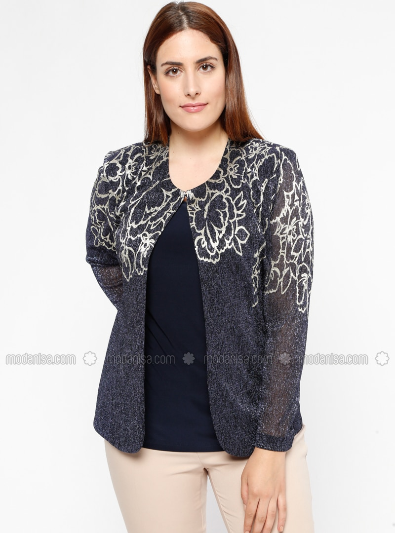 Navy Blue - Multi - Crew neck - Fully Lined - Plus Size Evening Suit