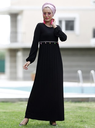 bel işlemeli pilise elbise - siyah - myzen