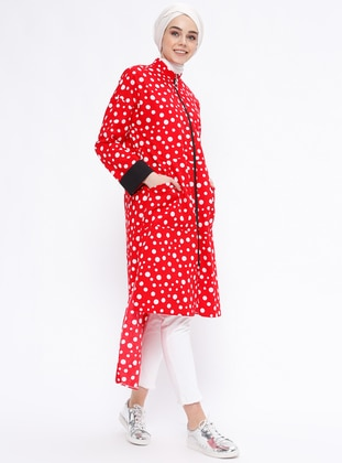 Red - Polka Dot - Unlined - Polo neck - Topcoat