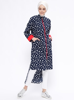 Navy Blue - Polka Dot - Unlined - Polo neck - Topcoat