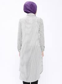 Ecru - Checkered - Point Collar - Tunic