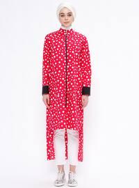 Pink - Fuchsia - Polka Dot - Unlined - Polo neck - Topcoat