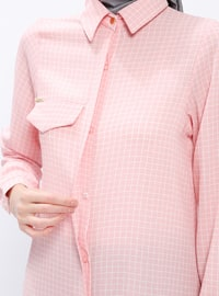 Pink - Checkered - Point Collar - Tunic