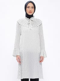 Ecru - Polka Dot - Polo neck - Tunic