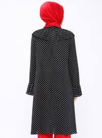 Black - Polka Dot - Polo neck - Tunic
