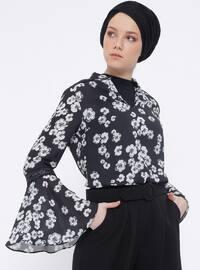 Black - Floral - V neck Collar - Blouses
