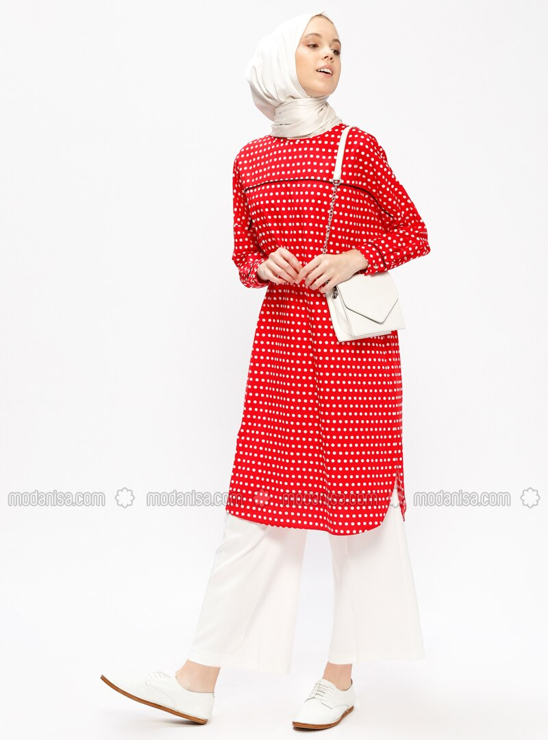 Red - Polka Dot - Crew neck - Tunic