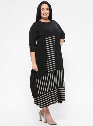 Black - Stripe - Unlined - Crew neck - Plus Size Dress