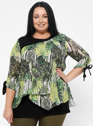 Green - Multi - Crew neck - Plus Size Blouse