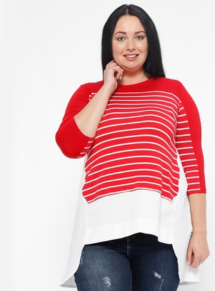 Red - Stripe - Crew neck - Plus Size Blouse