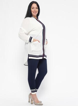 Navy Blue - Ecru - Unlined - Plus Size Suit