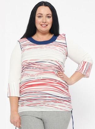 Navy Blue - Coral - Multi - Crew neck - Plus Size Blouse