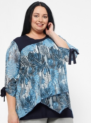Blue - Multi - Crew neck - Plus Size Blouse