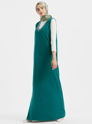 Green V Neck Collar Unlined Cotton Dresses