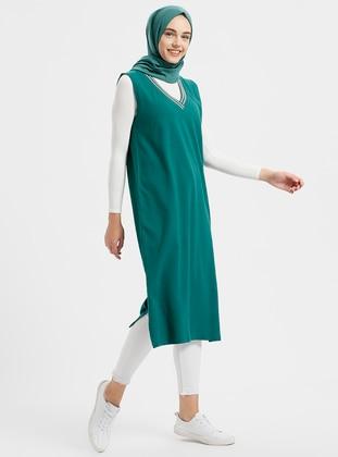 Green V Neck Collar Cotton Tunic