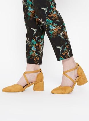 Sitill Topuklu Ayakkabı - Hardal