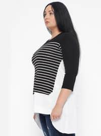 Black - Stripe - Crew neck - Plus Size Blouse
