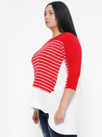 Red - Stripe - Crew neck - Plus Size Blouse