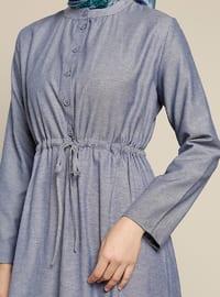 Navy Blue - Button Collar - Unlined - Dresses