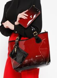 Çanta&Cüzdan İkili Takım - Bordo Siyah - Sitill